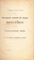 Genealogisch overzicht der korpsen Infanterie en Cavalerie